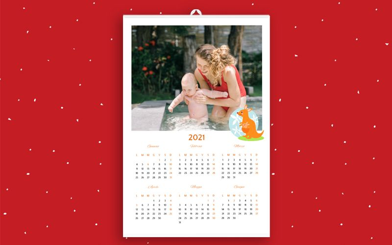Calendario 6+6 Baby Animals White