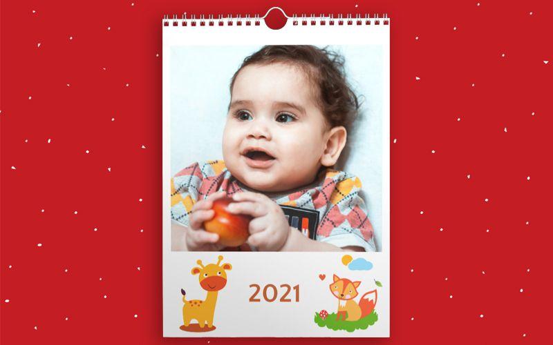 Calendario A4 Baby Animals White
